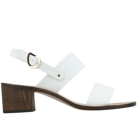 Lefki Block - White/Chestnut Heel