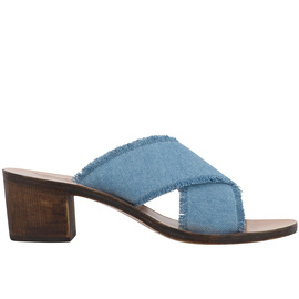 THAIS BLOCK - LIGHT DENIM/CHESTNUT HEEL