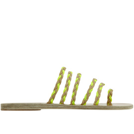 Ancient Greek Sandals with Lem Lem Niki Braids - Nat/Neon Yellow