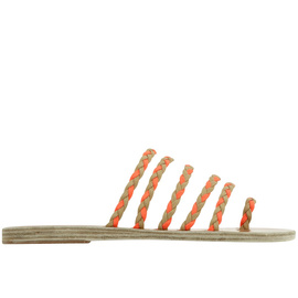 Ancient Greek Sandals with Lem Lem Niki Braids - Nat/Neon Orange