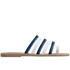 Niki Raffia - White/Blue Stripes
