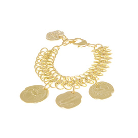 TRIPLE CHAIN COINS BRACELET - GOLD/GOLD COIN