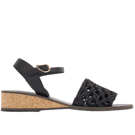 Margarita Wedge - Black/Woven Black