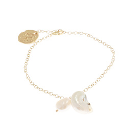 FINE CHAIN MOTHER PEARL SHELL - GOLD